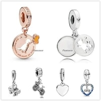 authentic 925 sterling silver married couple with crystal pendant charm bead fit pandora bracelet necklace jewelry