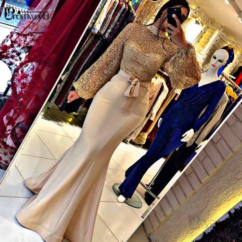 فساتين سهرة ذهبية موضة 2021 رقبة دائرية وأكمام طويلة وشاحات حورية البحر الساتان Vestidos De Fiesta ثوب مسائي رسمي طويل