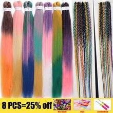 26 pouces facile Ombre Xpression tressage cheveux pré-étiré synthétique EZ basse température fibre Crochet Extensions de cheveux pour les femmes