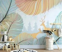 ainyoousem cartoon feather elk woods children room background wall wallpaper papel de parede 3d wallpaper wallpapers stickers