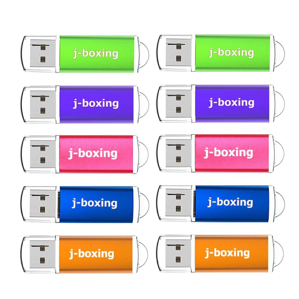 J-boxing 10PCS 16GB USB Flash Drives Rectangle 4GB Memory Flash Drive Multicolor 1GB Flash Pen Drive Memory Drive Storage for PC