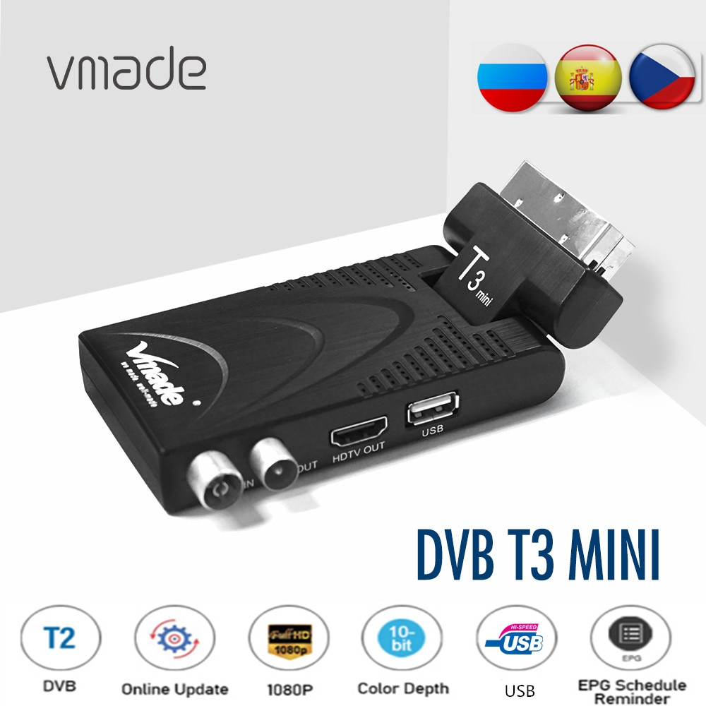 Vmade DVB-T2 Fully HD 1080P Digital Terrestrial TV Receiver H.265/HEVC Scart TV Tuner Decoder Support Youtube M3U Set Top Box недорого