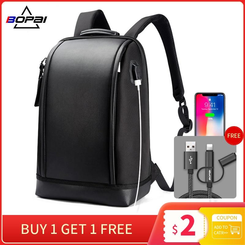 Мужской рюкзак для ноутбука BOPAI с защитой от кражи и внешней зарядки с USB, большой вместительностью 15,6 дюйма, кожаный водонепроницаемый рюкзак для ноутбука