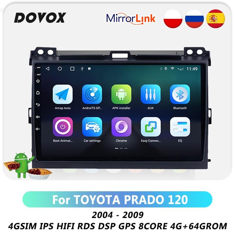DOVOX أندرويد 10 لتويوتا لاند كروزر برادو 120 برادو 3 2004-2009 راديو السيارة الوسائط المتعددة مشغل فيديو لتحديد المواقع نافي RDS DSP 4G 2 Din
