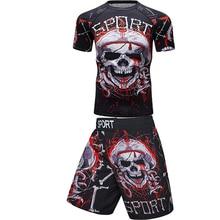Hommes t-shirts + pantalons 2020 boxe Muay thai shorts Rashguard Jiu Jitsu Mma kickboxing ensembles maillots Fitness sport costumes Bjj gymnase Boxeo
