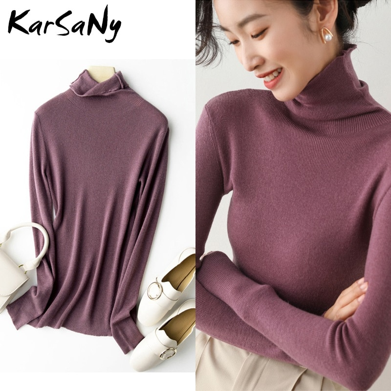 Womens Winter Turtleneck Sweaters And Pullovers Warm Thin Stretch Sweater Women Knitted Top Autumn Woman Jumper