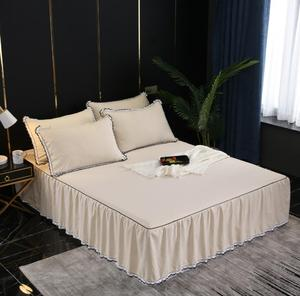 Home Textile 1/3pcs Solid color Bedspread Bed sheet Romantic Bedding polyester/cotton Bedclothes Bedcover For 150X200/180X200