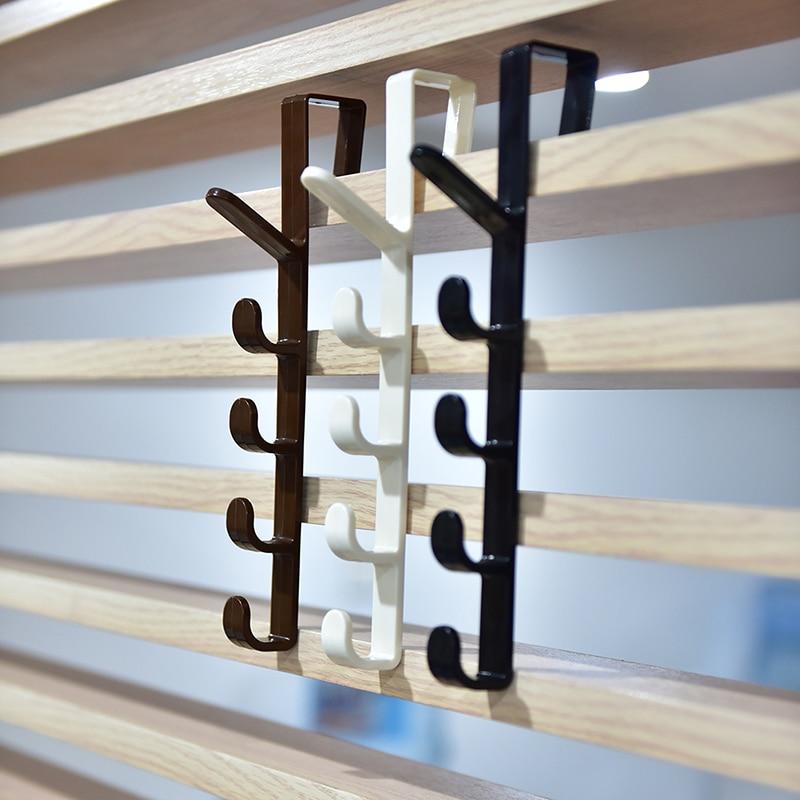 New Arrival 1pc Plastic Practical Over The Door Hanger Hook Clothes Storage Holder Multipurpose Hanging Rack