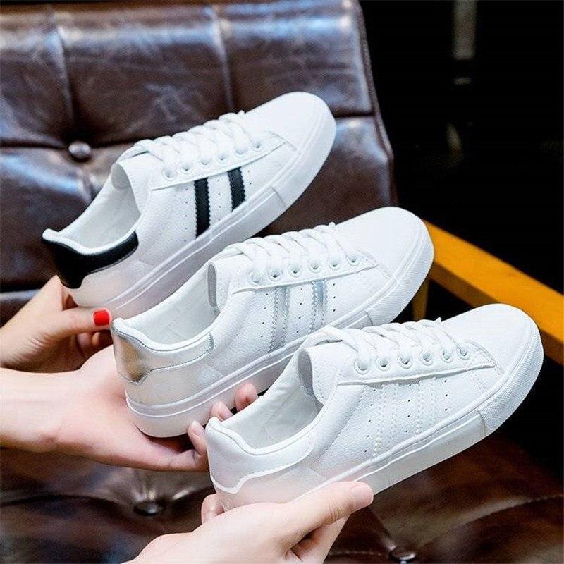 Zapatos casuales para Mujer, Zapatos planos vulcanizados respirables para Mujer, Zapatos blancos con cordones, Zapatos De Mujer