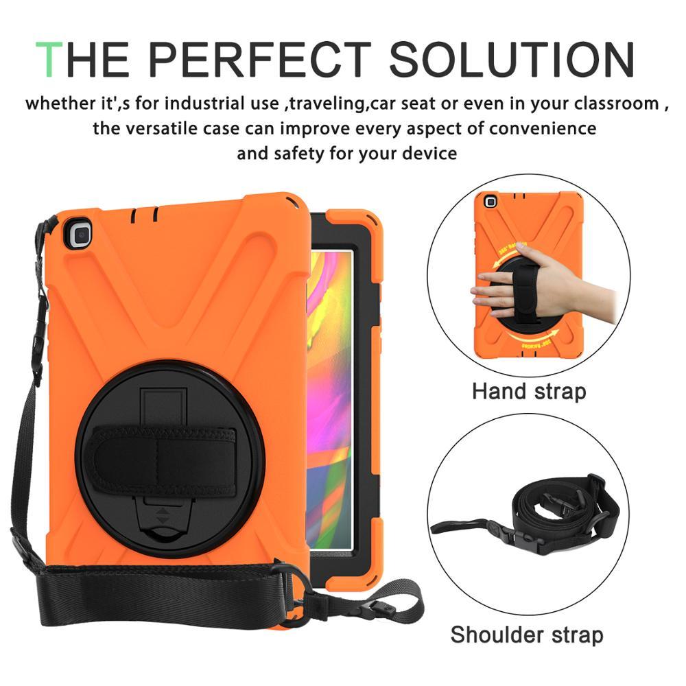 Funda para Samsung Galaxy Tab A 8,0 2019 T290 T295 SM-T290 T297, correa de mano giratoria de alta resistencia segura/soporte + correa de hombro