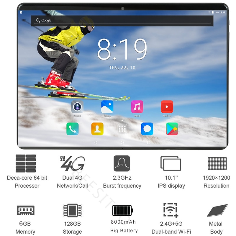 2.5D Glass 10 inch Tablet pc Deca Core 6GB RAM 128GB ROM 1920*1200 IPS Tablets Android 9.0 Dual Sim