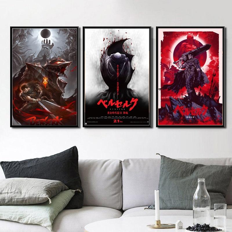 Popular rojo Berserk Japón Anime Cartoon Comics Poster pared arte lienzo pintura cuadros de pared para la decoración del hogar de la sala de estar артны