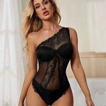Nouveau Sexy dentelle Body moulante corps femmes Patchwork Transparent mode Bodys sans manches mince salopette HB235