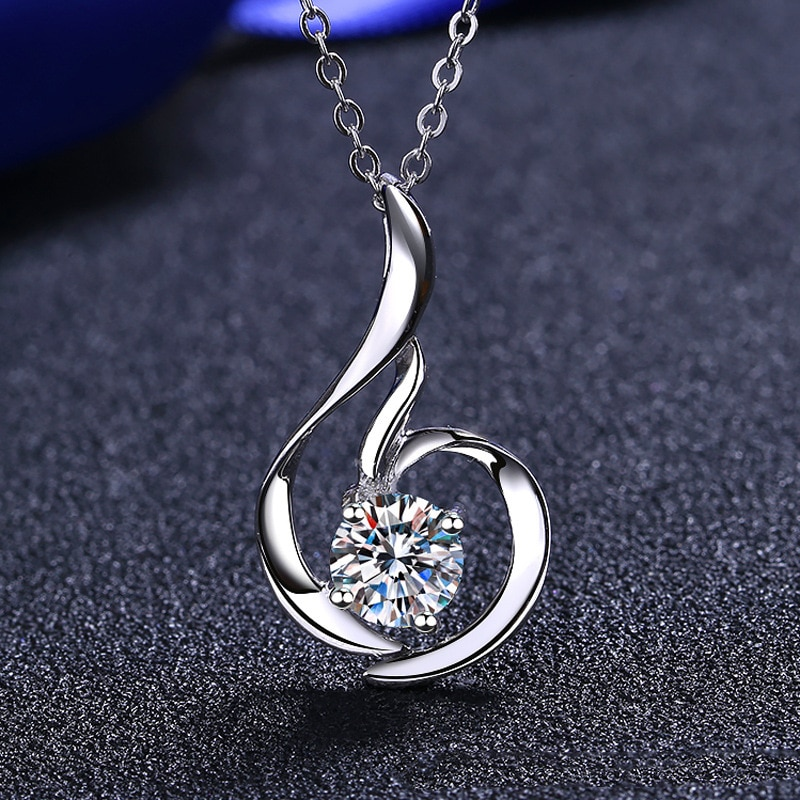 Inbeaut 925 الفضة تمرير الماس اختبار 0.8 ct مويسانيتي لطيف ميني قلادة قلادة ممتازة قطع D اللون مويسانيتي سلسلة