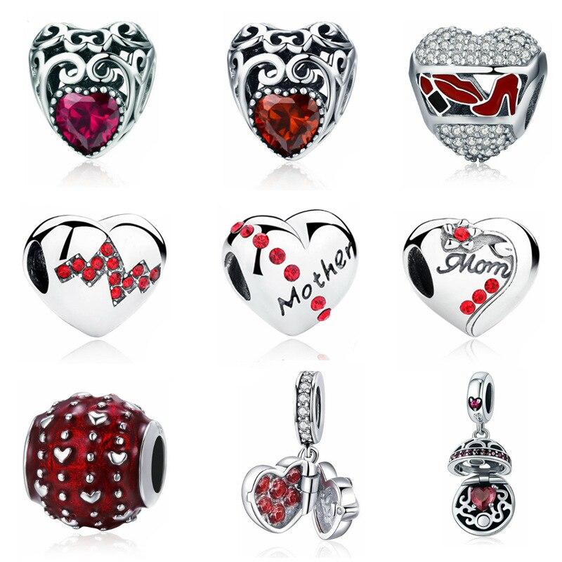 Combo de amor rojo accesorios de bricolaje cuentas de piedra natural para hacer joyas en forma de pulsera de pandora de plata 925 original