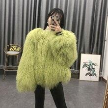 2020 femmes réel mongol mouton manteau de fourrure dames en cuir style court plage laine fourrure veste vêtements de dessus pour femmes