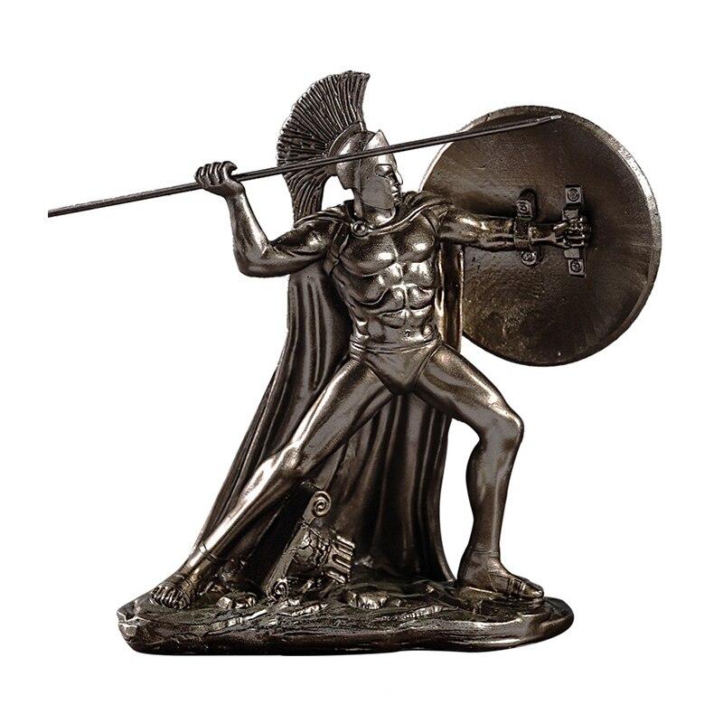 RETRO dios griego de la guerra escultura espartana artesanías estilo europeo sala de estar gabinete de vino estatua decoración de oficina adornos