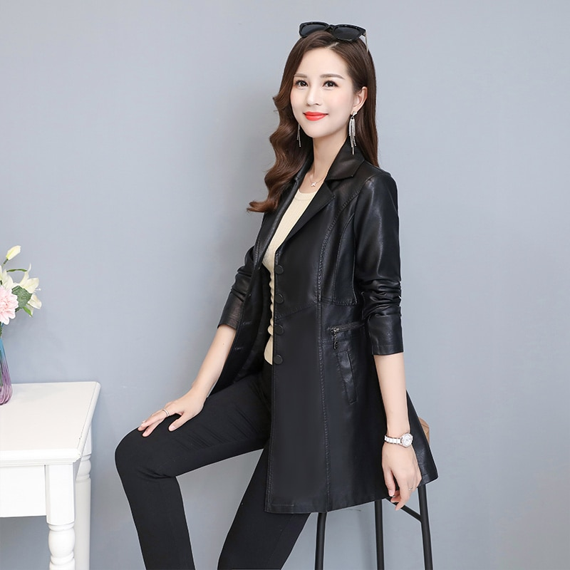 2020 Autumn And Winter New Women's Long Leather Jacket, Slim Temperament And Elegant Pu Artificial Leather Skirt Windbreaker enlarge