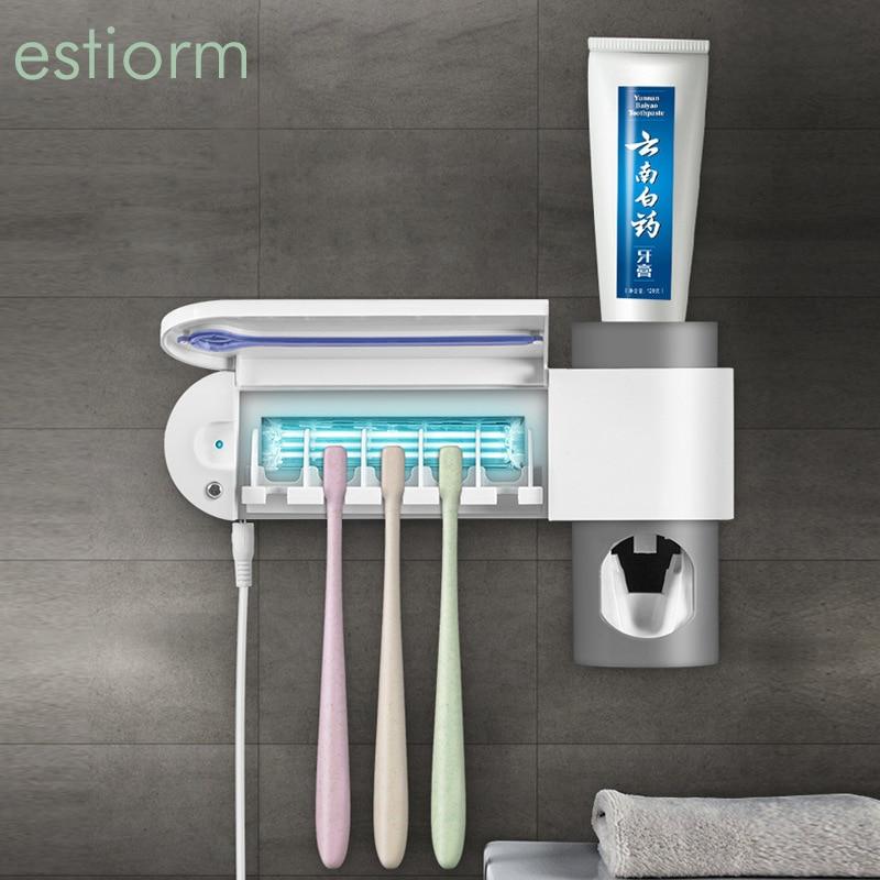 Esterilizador de cepillo de dientes-soporte de cepillo de dientes ligero UV montado en la pared para niños, familia, baño-dispensador automático de pasta de dientes blanco