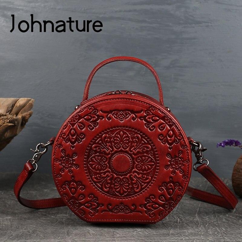 Johطبيعة-حقيبة يد ريترو من الجلد الطبيعي مع الطوطم للنساء ، حقيبة دائرية صغيرة ، حقيبة كتف من جلد البقر الناعم متعددة الاستخدامات ، 2021