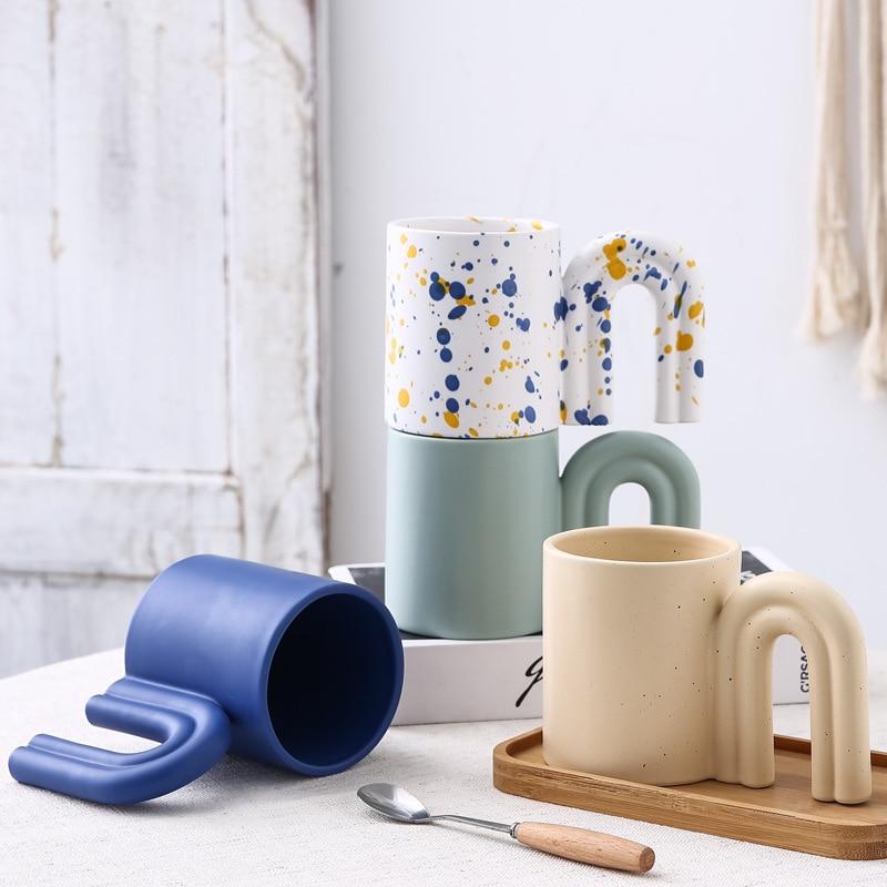 ins Korean Creative Doorknob Ceramic Cup Handmade Spray Dot Cup Inkjet Cup Klein Blue Cup Mug Starbucks Coffee Cup Milk Cup