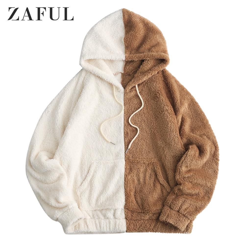 Zaful bolso frontal fofo solto hoodie para homem cordão com capuz queda colorblock pullovers oversize moletom com capuz casual