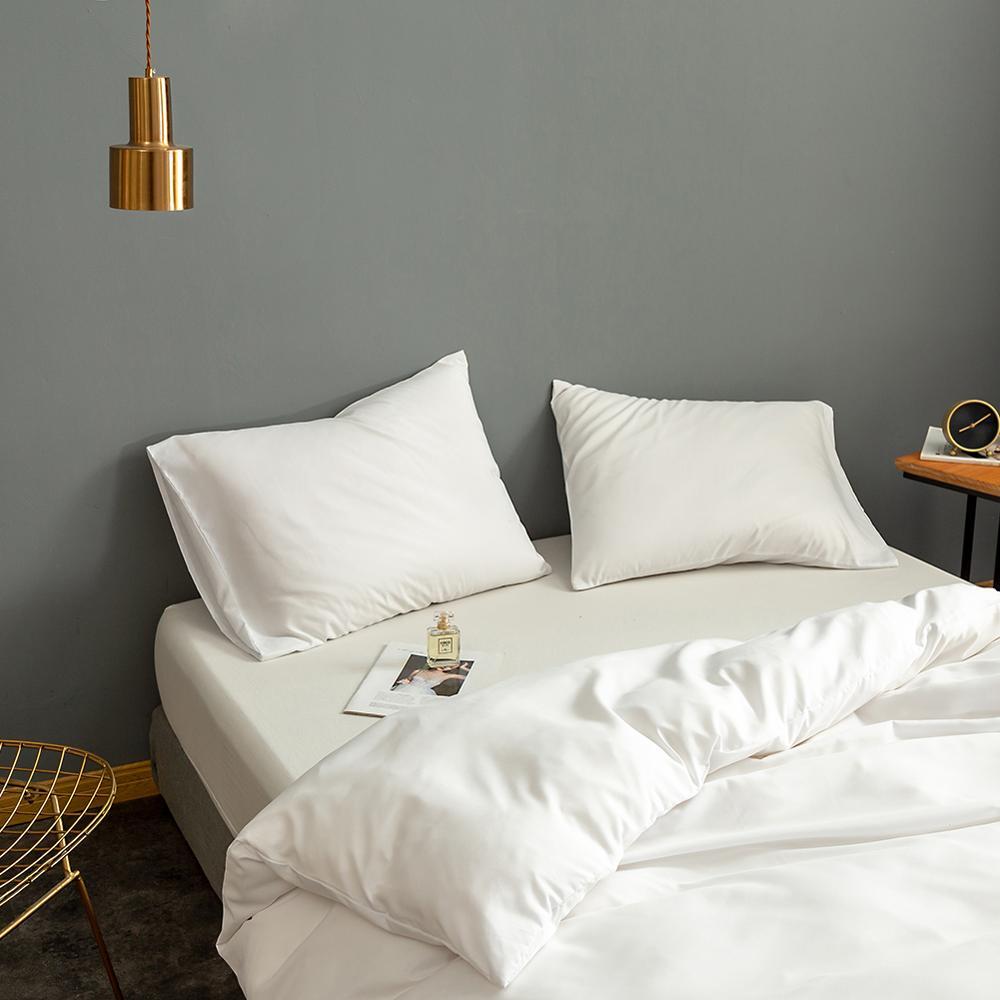 طقم أغطية لحاف مقاس كوين لون أبيض عادي مصبوغ أغطية سرير طقم سرير مفرد ropa de cama أغطية سرير مزدوجة طقم سرير