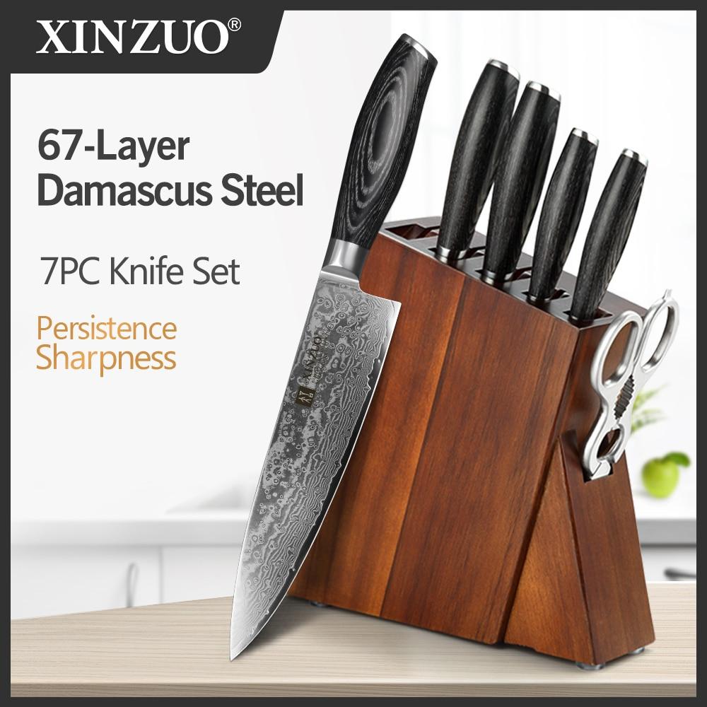 XINZUO 7 قطعة السكاكين مجموعات دمشق الصلب Pakka الخشب مقبض متعددة الوظائف الشيف Santoku سكين كتلة المطبخ أدوات الطبخ