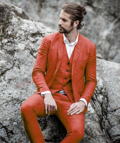 Trajes de hombre azules de 2020, trajes de boda informales de lino para novio de playa, trajes de verano de talla grande a medida para hombres, chaqueta, pantalones, 3 piezas