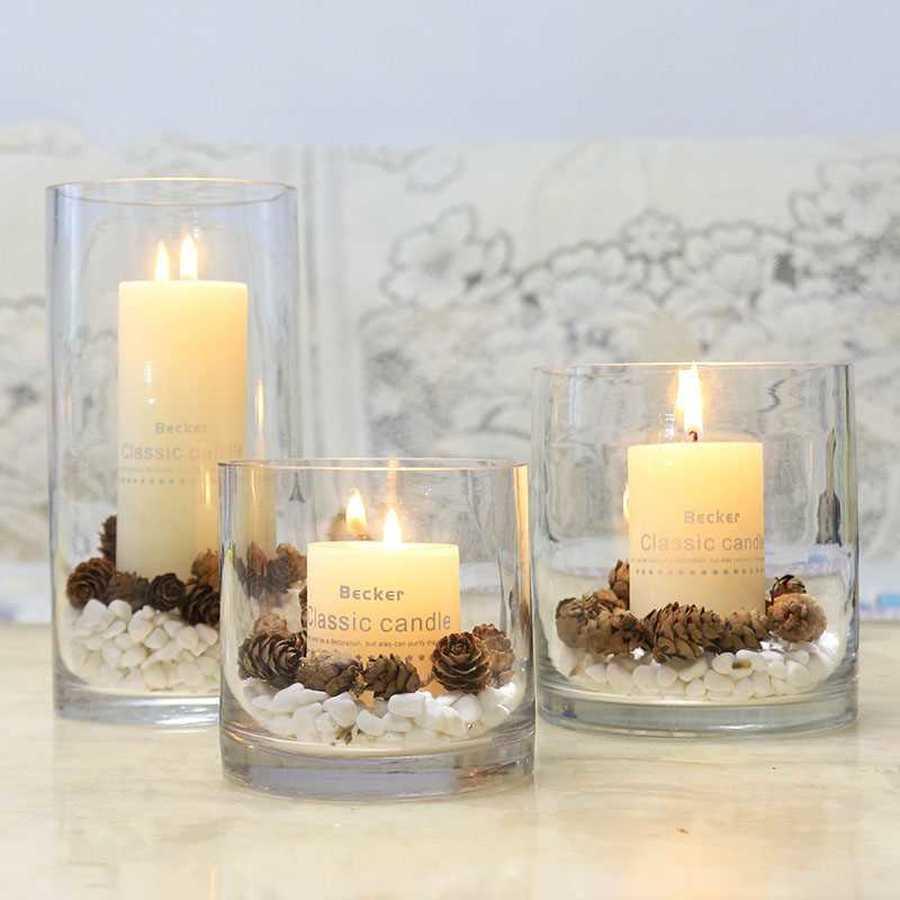 Portavelas navideño de cristal, decoraciones para bodas y Navidad, portavelas de cristal...