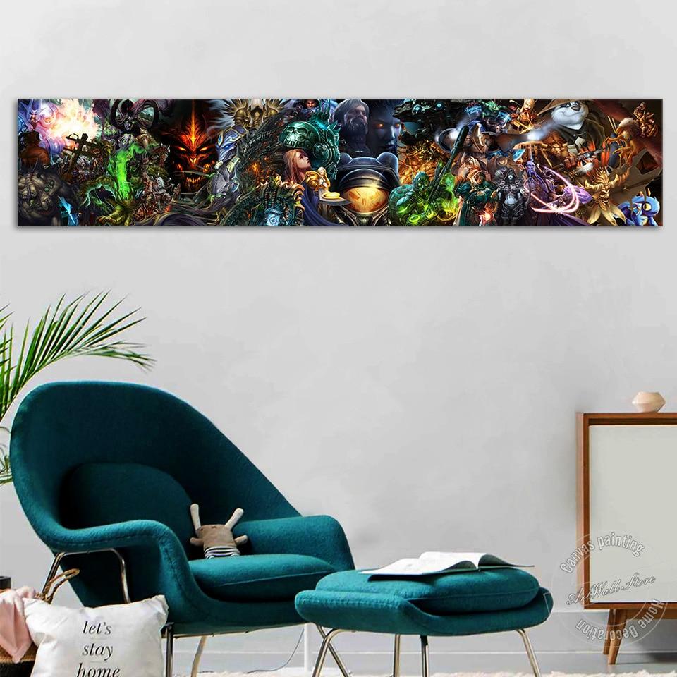 Blizzard entretenimiento póster de videojuegos imagen para pared grande para sala de estar y sala de juegos Decoración de pared WOW StarCraft Diablo pintura