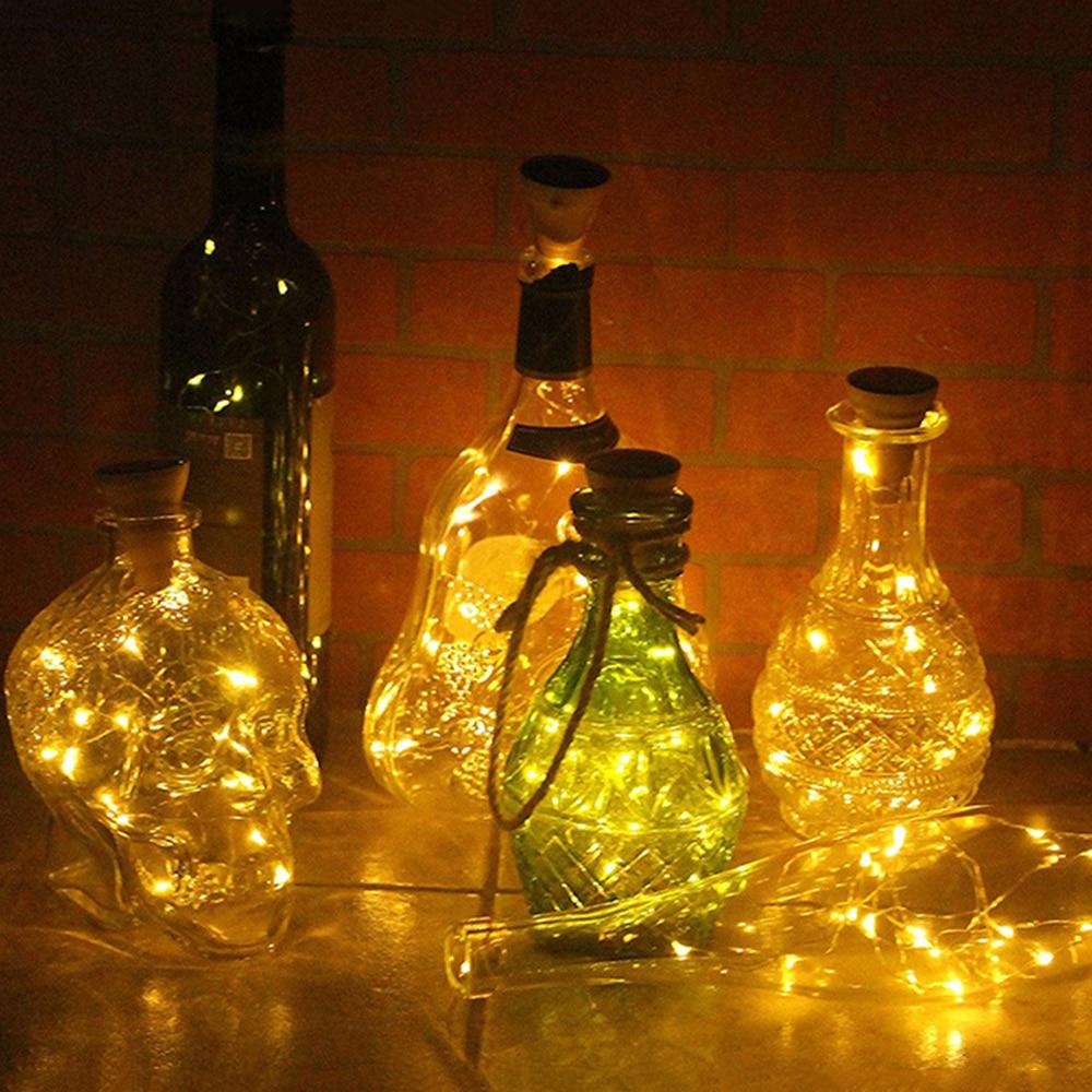 Navidad boda Hada Luz Decoración Luz botella luz LED Solar corcho cobre alambre tubo luz cadena redonda corcho luz botella