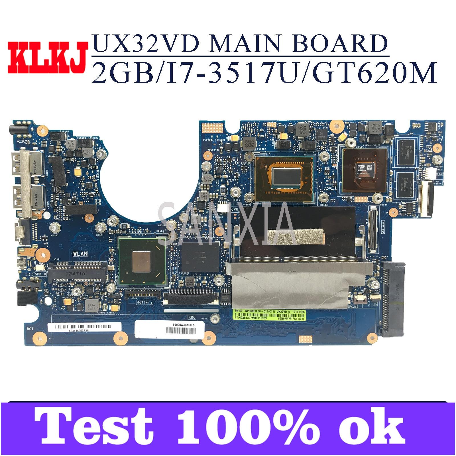 KLKJ UX32VD اللوحة الأم لأجهزة الكمبيوتر المحمول ASUS UX32VD اللوحة الرئيسية الأصلية 2GB-RAM I7-3517U GT620M
