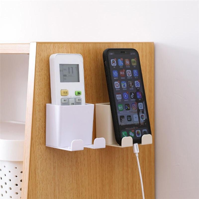 Caja organizadora de almacenamiento montada en la pared de plástico para teléfono móvil soporte contenedor de almacenamiento de aire acondicionado de Control remoto