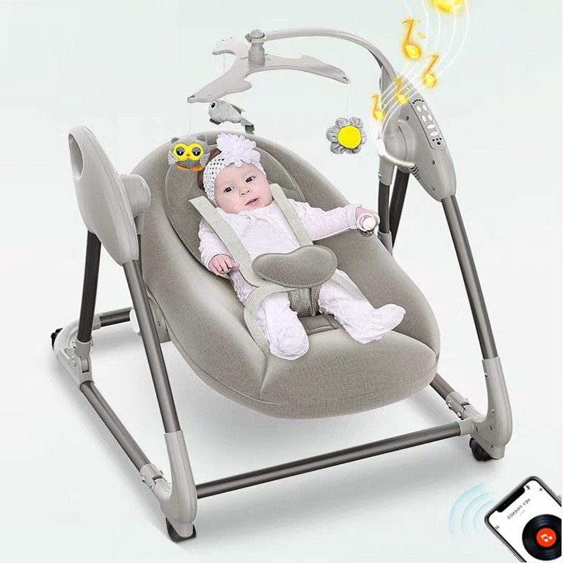 Multifunctional Baby Electric Rocking Chair Intelligent Voice-activated Induction Push-type Baby Rocking Chair with Bluetooth