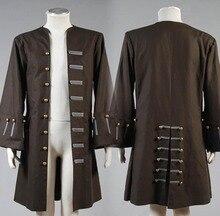 Nouveauté Jack Sparrow déguisement Pirates des caraïbes capitaine Jack Sparrow Cosplay Costume pour hommes adultes seulement veste manteau