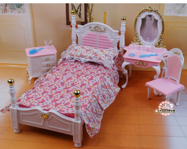 الأصلي ل دمية باربي السرير خلع الملابس الجدول مجموعة أثاث غرف النوم 1/6 bjd إكسسوارات دمي نوم المنزل لعب اطفال هدية