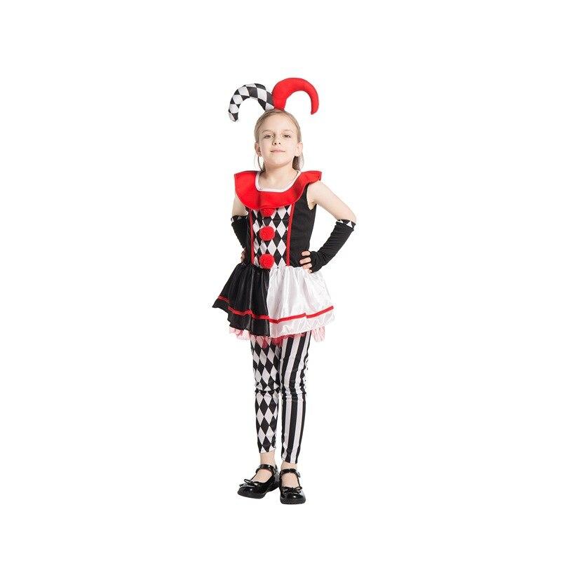 Movie Harley Quinn Cosplay Halloween Party Costume for Kids Red Black Clown Girls Dress Joker Carnival Fancy Dress