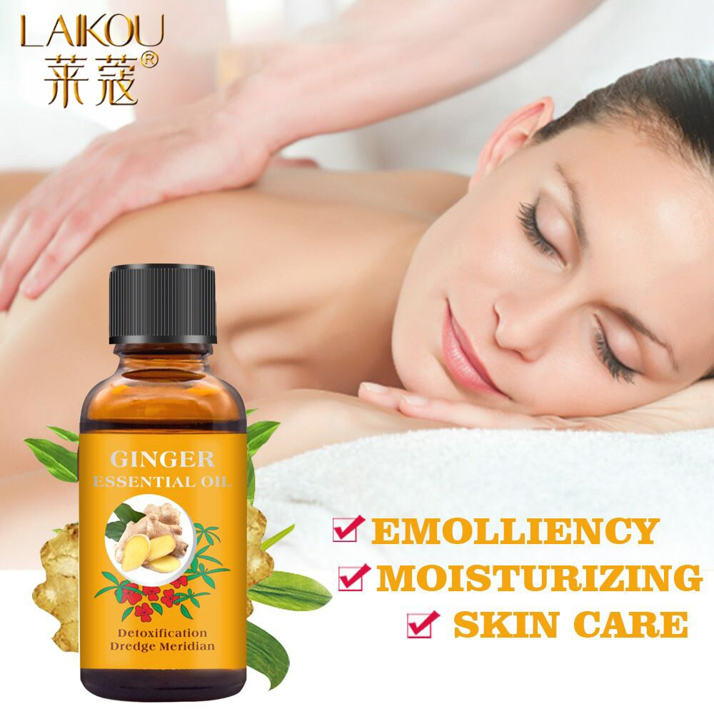 LAIKOU 30ML Ginger Massage Oil Relaxing Body Massage Scraping Essential Oil Relieve Fatigue Pure Natural Body Oils Skin Care недорого