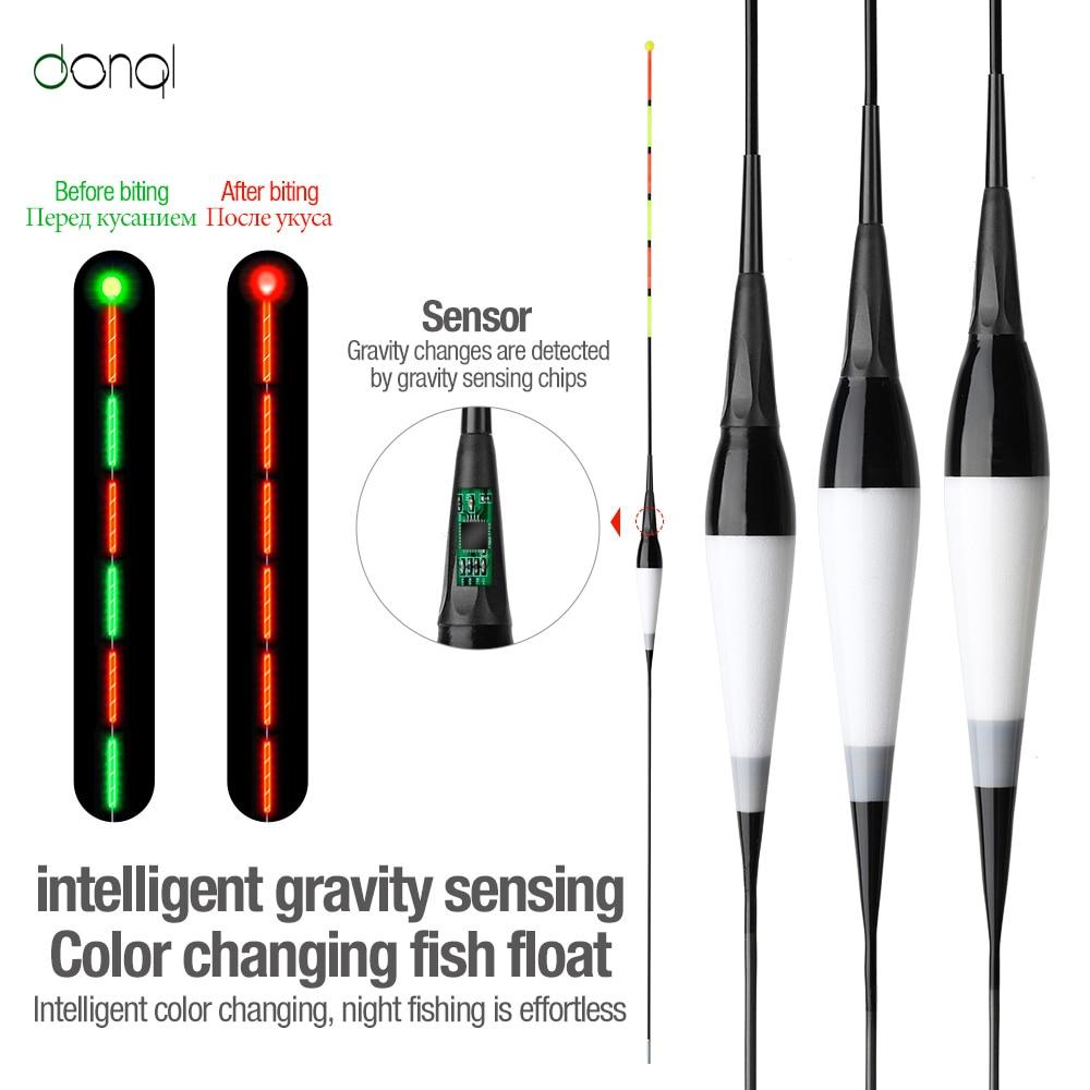 DONQL-flotador de pesca electrónico, cebo de inducción luminoso de alta sensibilidad, flotador...
