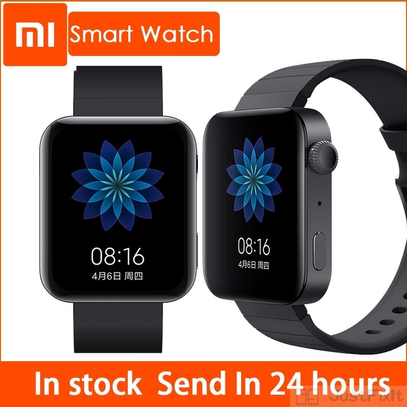 شاومي ساعة مي ذكية جي بي إس NFC واي فاي ESIM مكالمة هاتفية سوار أندرويد ساعة اليد الرياضة بلوتوث اللياقة البدنية رصد معدل ضربات القلب المسار