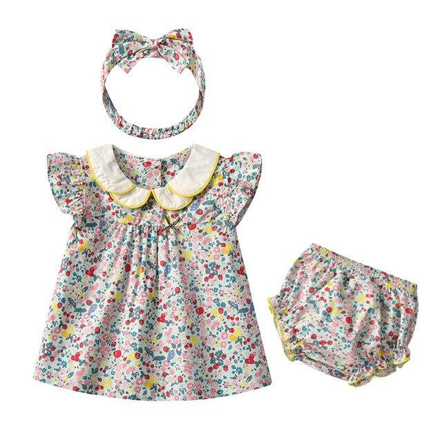 Yg Brand Children's Wear, Summer Baby Cotton Children's Suit, Floral Lapel Baby Clothes, Lovely Princess Skirt 4