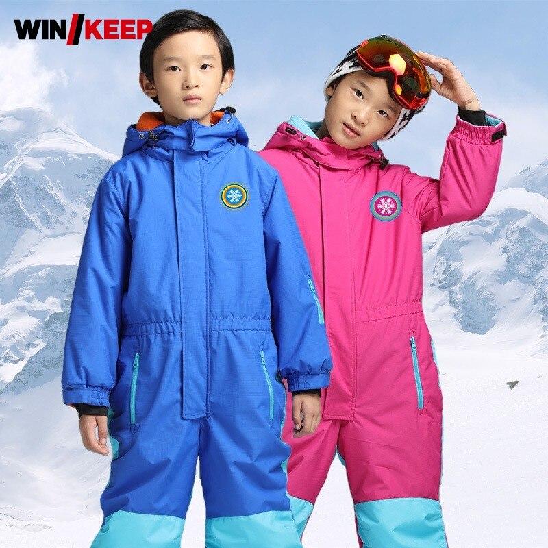 بدلة تزلج بغطاء للرأس للأطفال ، طقم تزلج من قطعة واحدة ، ألوان مختلطة ، سميكة ودافئة ، بدلة رياضية Windreaker