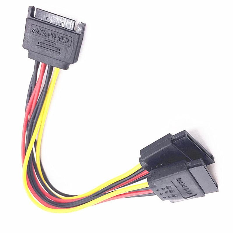 15Pin 20cm SATA macho a hembra 2 SATA Cable divisor adaptador de corriente Cable extensión línea de alambre para HDD duro disco del conector del divisor