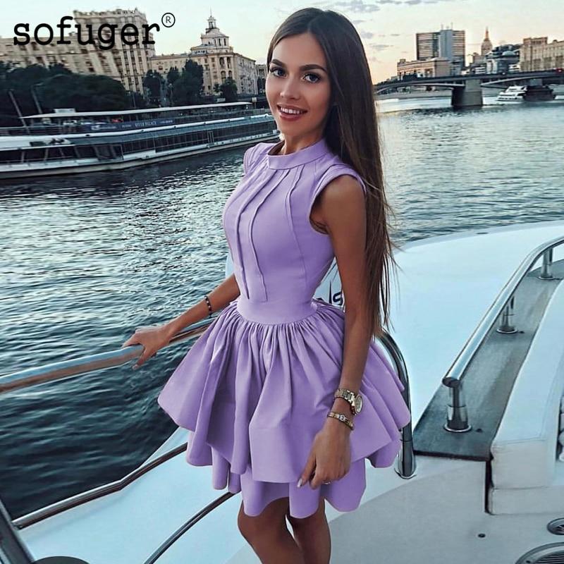 2019 Elegant Cocktail Dresses A-line High Collar Short Mini Satin Party Plus Size Homecoming Dresses