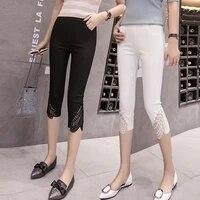 2020 summer thin cropped pants women wear leggings elastic waist fat large size elastic feet middle leg pants leggings women