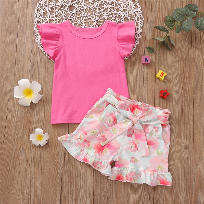 2Pcs Outfit Set Kids Baby Girls Flying Sleeve Solid Color Round Neck Tops+Floral Print Shorts Pants Set 2-7Y (Rose Red/Caramel)
