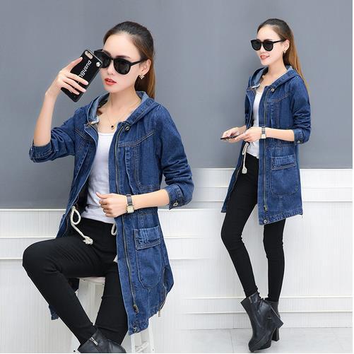 Winter Autumn New Denim Jacket Women Korean Loose Long Jeans Jackets Womens Zipper Plus size Hooded Basic Coat Jackets  LJ637