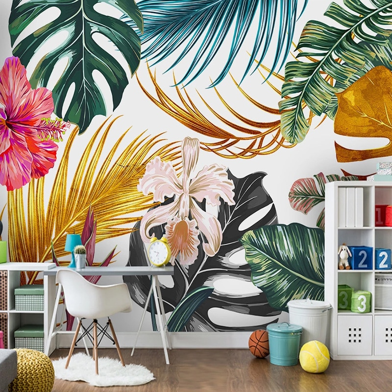 Modern Photo Wallpaper 3D Watercolor Golden Plants Leaves Flowers Wall Painting Living Room Dining Waterproof Canvas Murals