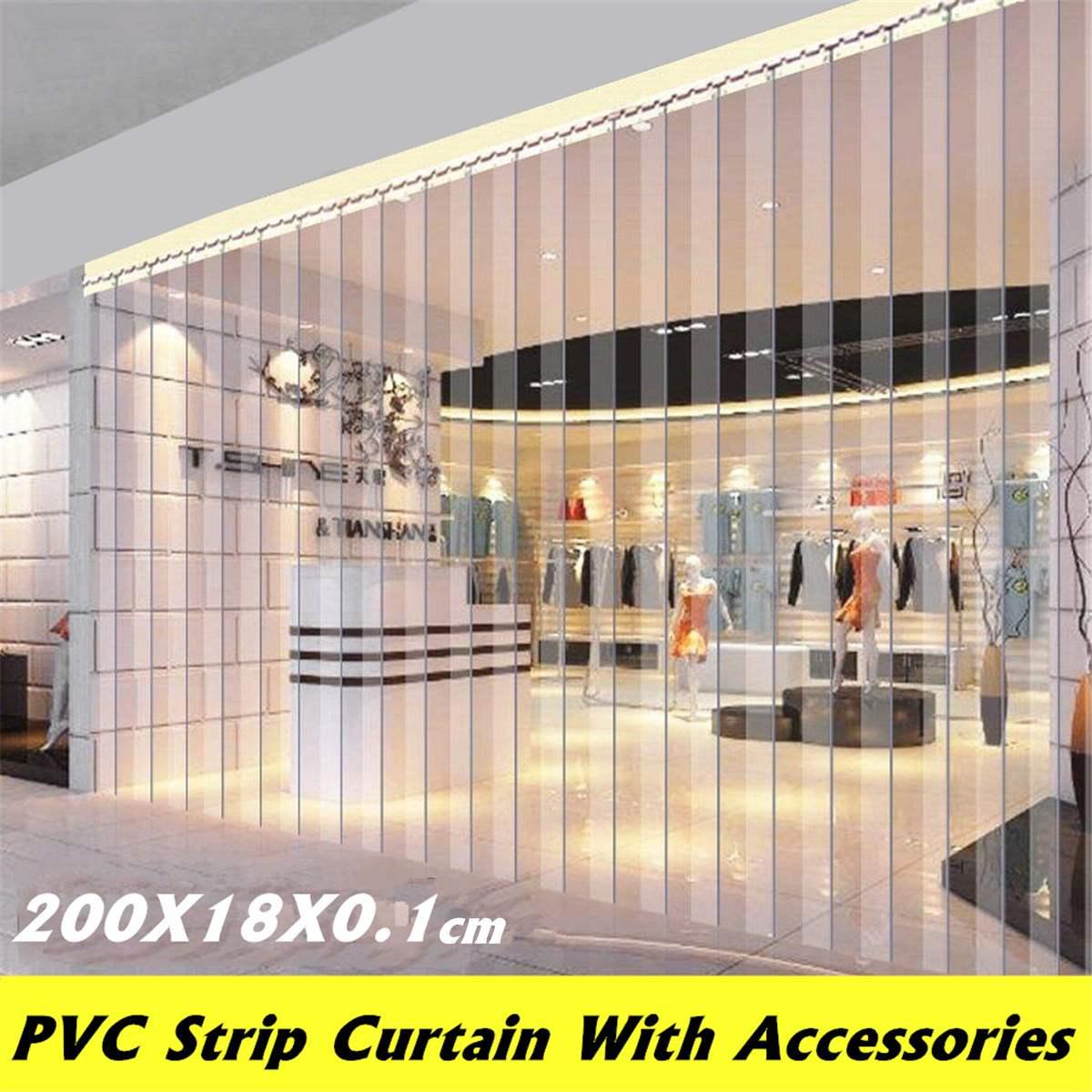 Transparente 2m tira pvc cortina freezer sala tira porta cortinas à prova de vento resistência ao calor frio pendurado ferroviário kit